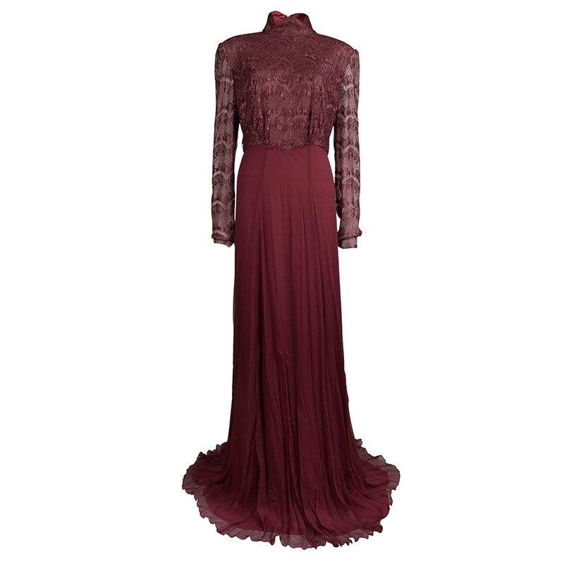 Tadashi Shoji Burgundy Lace Chiffon Gown XXL - Buy & Sell - LC