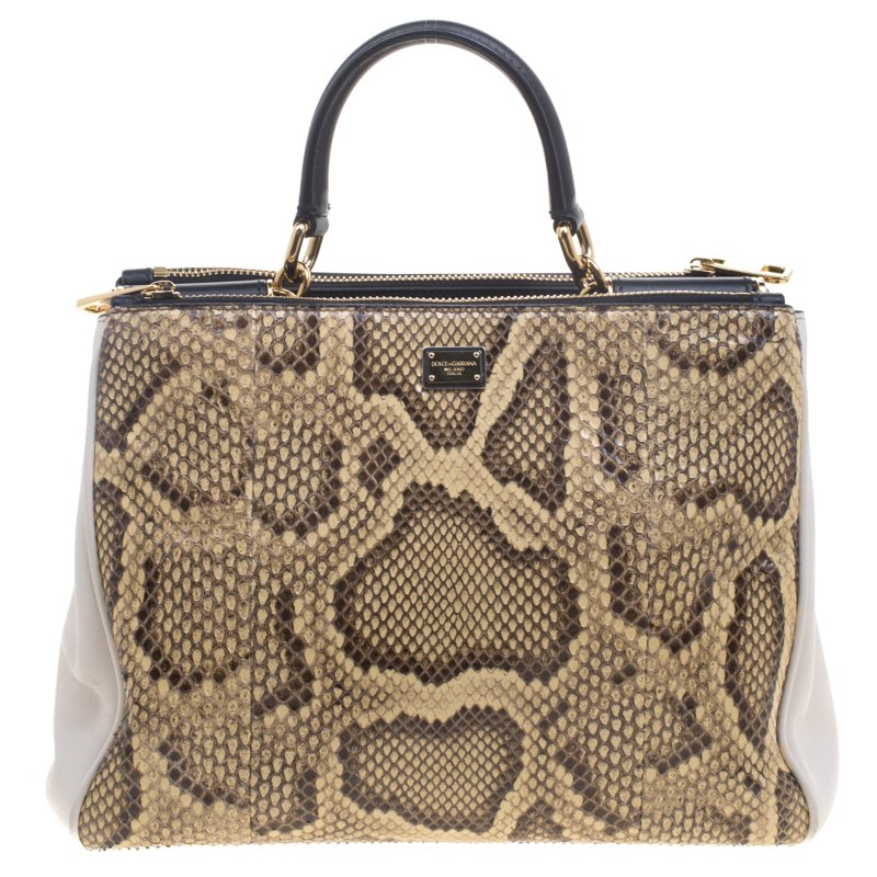 Dolce and Gabbana Python and Leather Medium Miss Sicily Shopper Tote.  nextprev ... 06d45fbb5ab3f