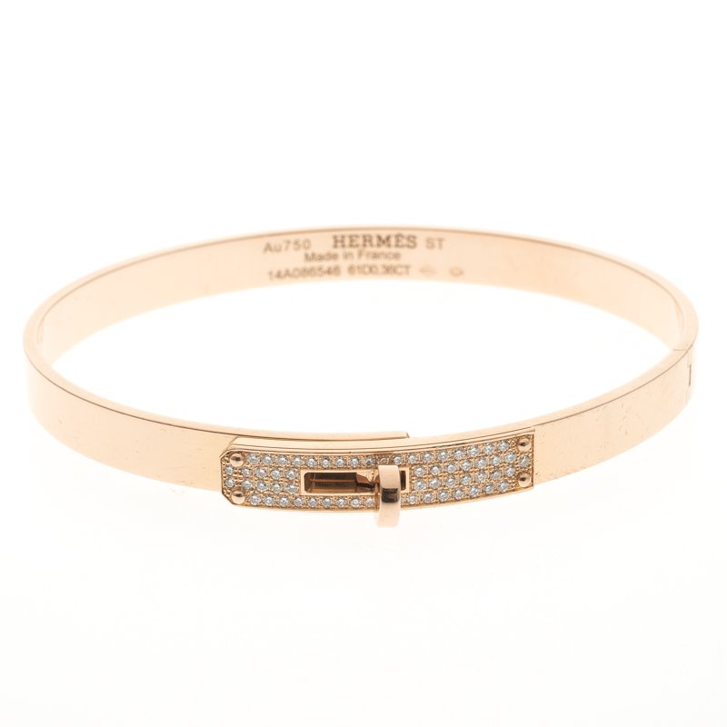 bracelet gold a hermes diamond bangle rose large kelly
