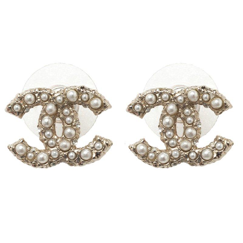 Chanel Cc Faux Pearl Gold Tone Stud Earrings Nextprev Prevnext