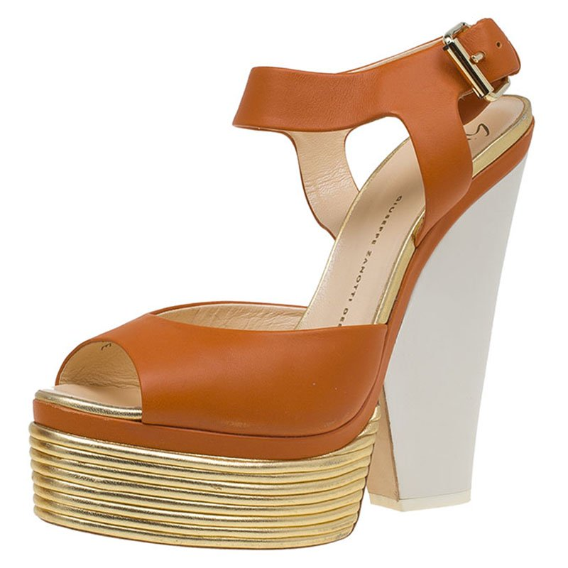 ... Giuseppe Zanotti Orange Leather Platform Wedge Sandals Size 41.  nextprev. prevnext