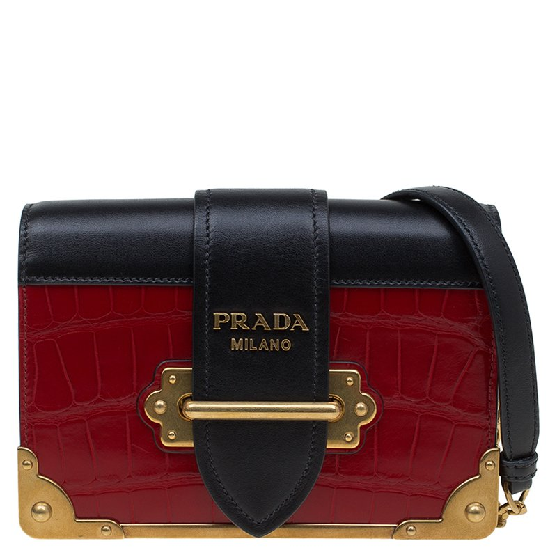 473a5731d36 ... inexpensive prada red black crocodile and leather cahier shoulder bag.  nextprev. prevnext 5203c ac470