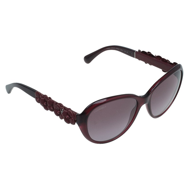 6ff292b46d Buy Chanel Red 5316 Leather Camellia Oval Sunglasses 46437 at best ...