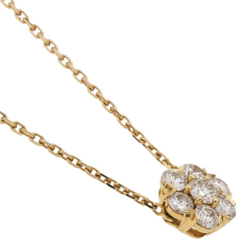 Van Cleef & Arpels Fleurette Diamond Yellow Gold Small Pendant Necklace