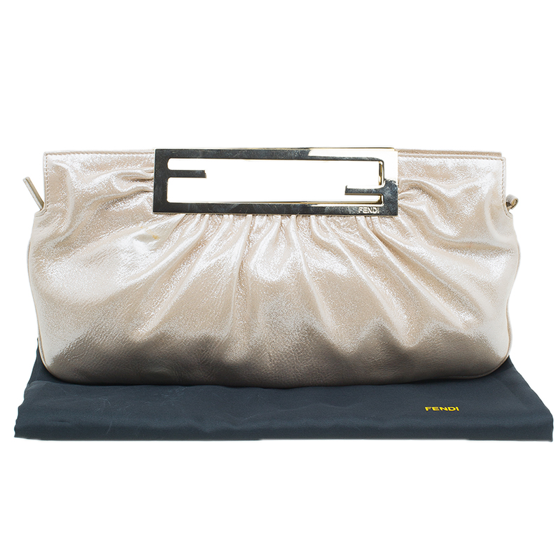 Fendi Metallic Beige Leather Cutout Handle Clutch