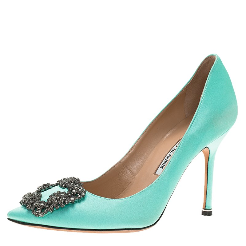 c3dab733d393 ... promo code for manolo blahnik turquoise embellished satin hangisi pumps  size 37. nextprev. prevnext
