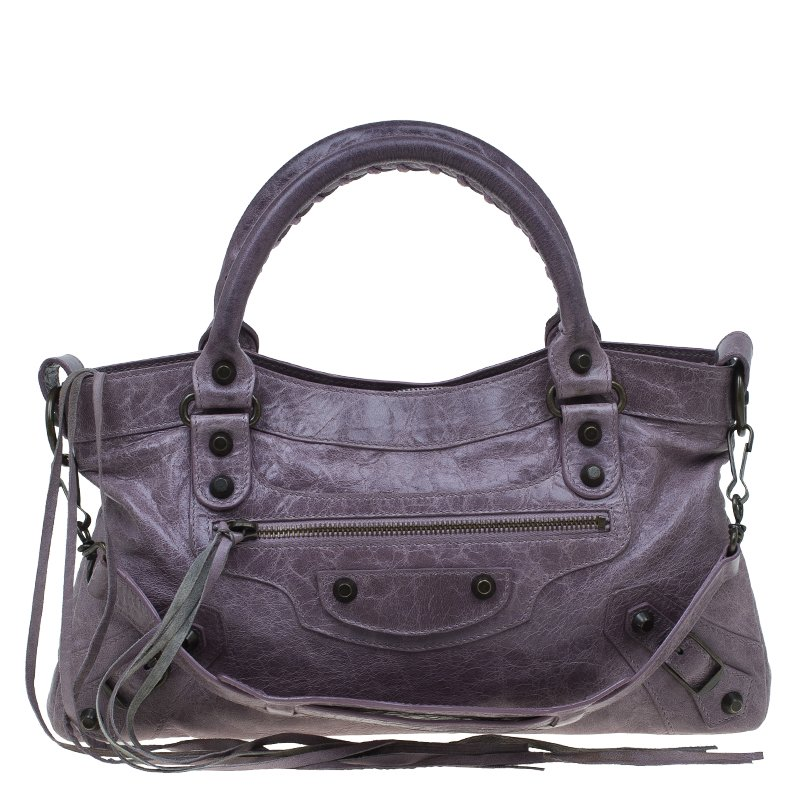 Balenciaga Lilac Leather Classic First Shoulder Bag