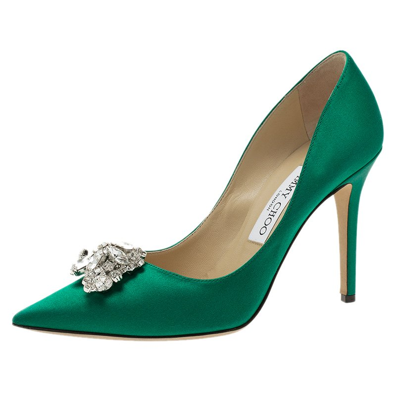 73950a45a1e4 ... australia jimmy choo green satin embellished manda pumps size 37.  nextprev. prevnext bb2fb 57920 ...
