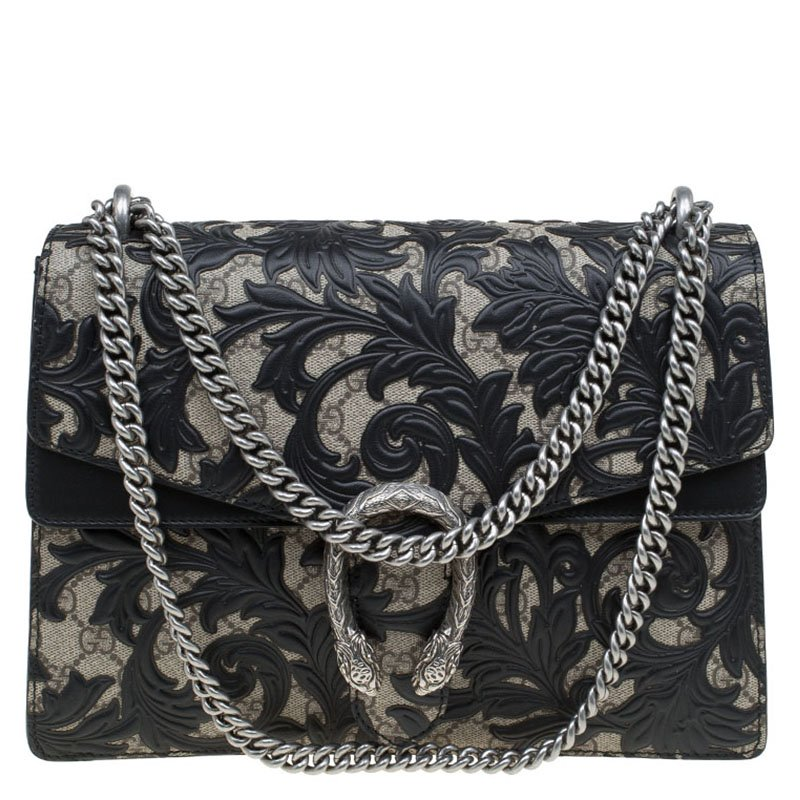 7be4e17d1a1 Gucci Black GG Supreme Canvas Medium Dionysus Arabesque Shoulder Bag.  nextprev. prevnext