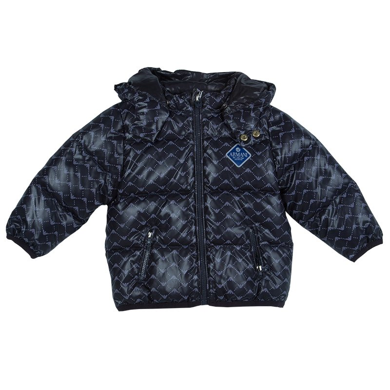 Armani Baby Navy Blue Quilted Hooded Down Jacket 12 Months Buy
