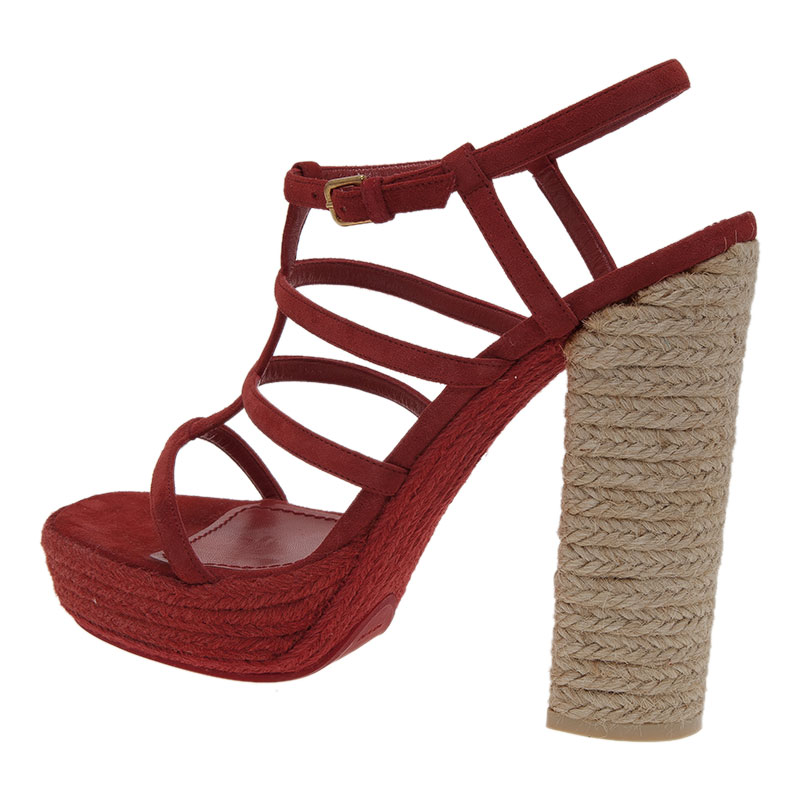 Saint Laurent Paris Red Suede Gypsy Espadrille Platform Sandals Size 40