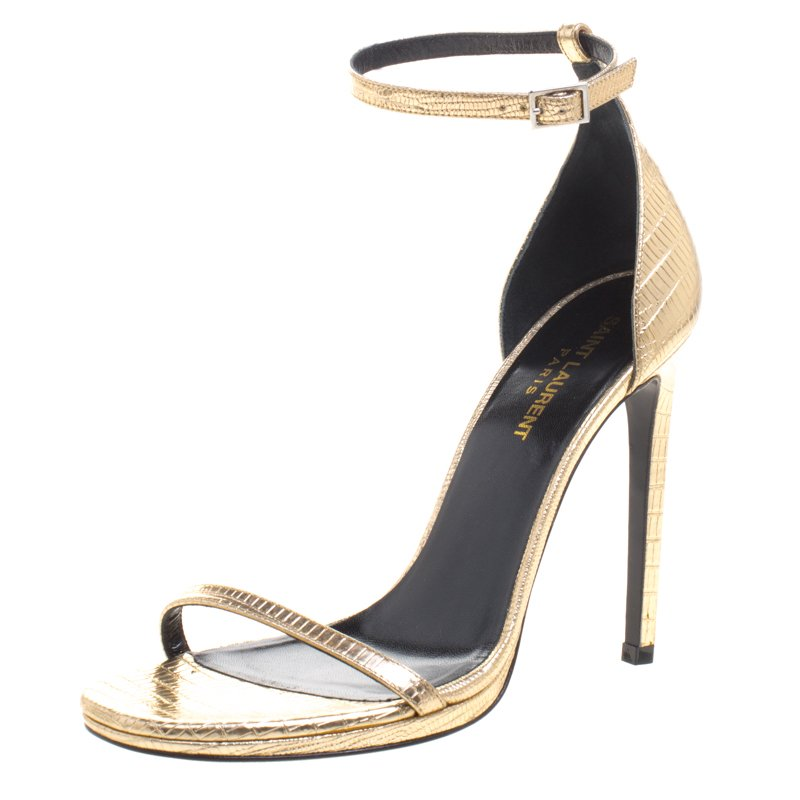 fast delivery cheap online order Saint Laurent Embossed Ankle Strap Sandals discount hot sale uqOfBZ