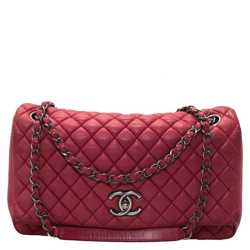 6828b2f6623d Chanel Red Quilted Iridescent Leather Large New Bubble Flap Bag