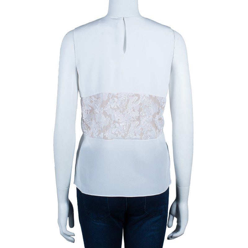 Prabal Gurung White Sleeveless Lace Insert Top M