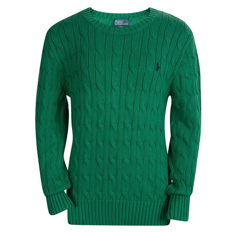 Polo By Ralph Lauren Green Cable Knit Crew Neck Sweater 8 Yrs Buy