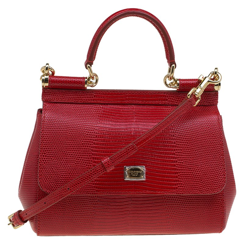 1d1d1f2be5e6 Dolce and Gabbana Red Lizard Embossed Leather Small Miss Sicily Top Handle  Bag ...