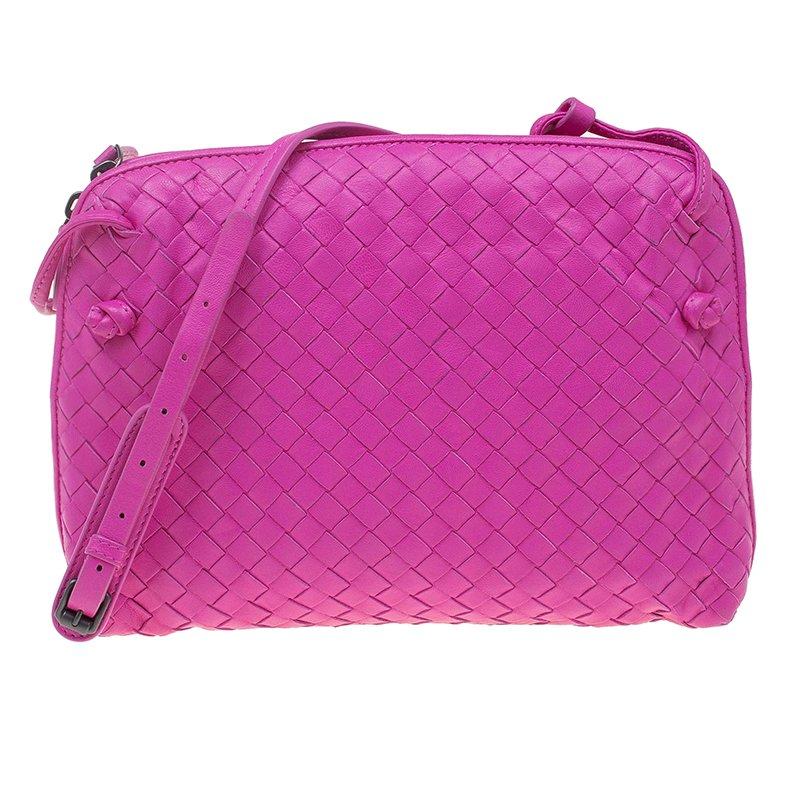 aad52f6ed19 Bottega Veneta Pink Intrecciato Woven Leather Crossbody Bag. nextprev ...