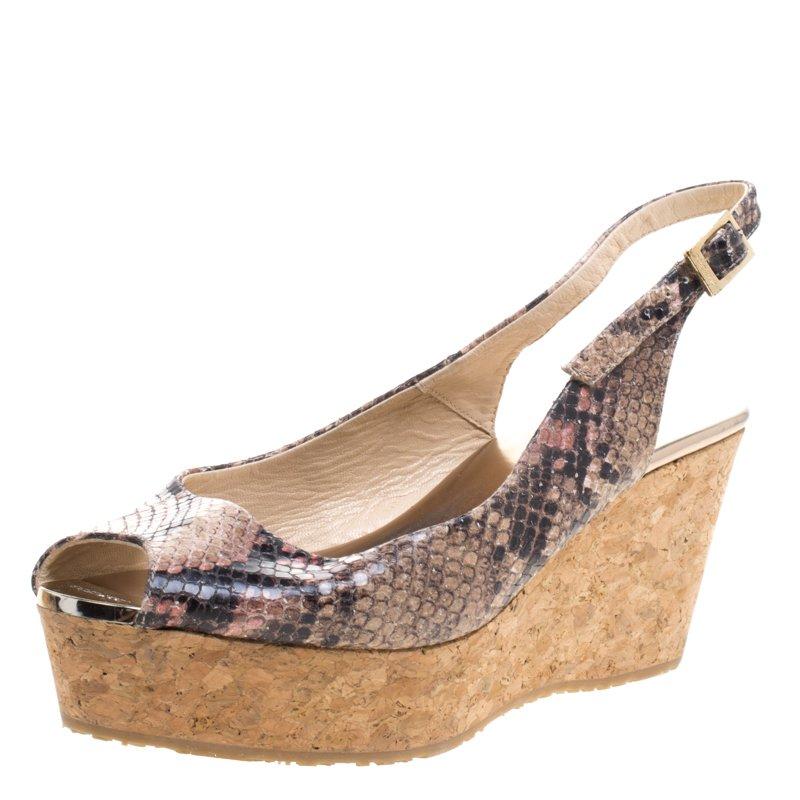 174c77e3152 Buy Jimmy Choo Embossed Python Praise Slingback Wedge Sandals Size ...