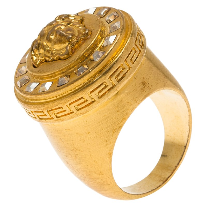 Buy Versace Icon Medusa Crystal Studded Gold Tone Ring Size 54 60314