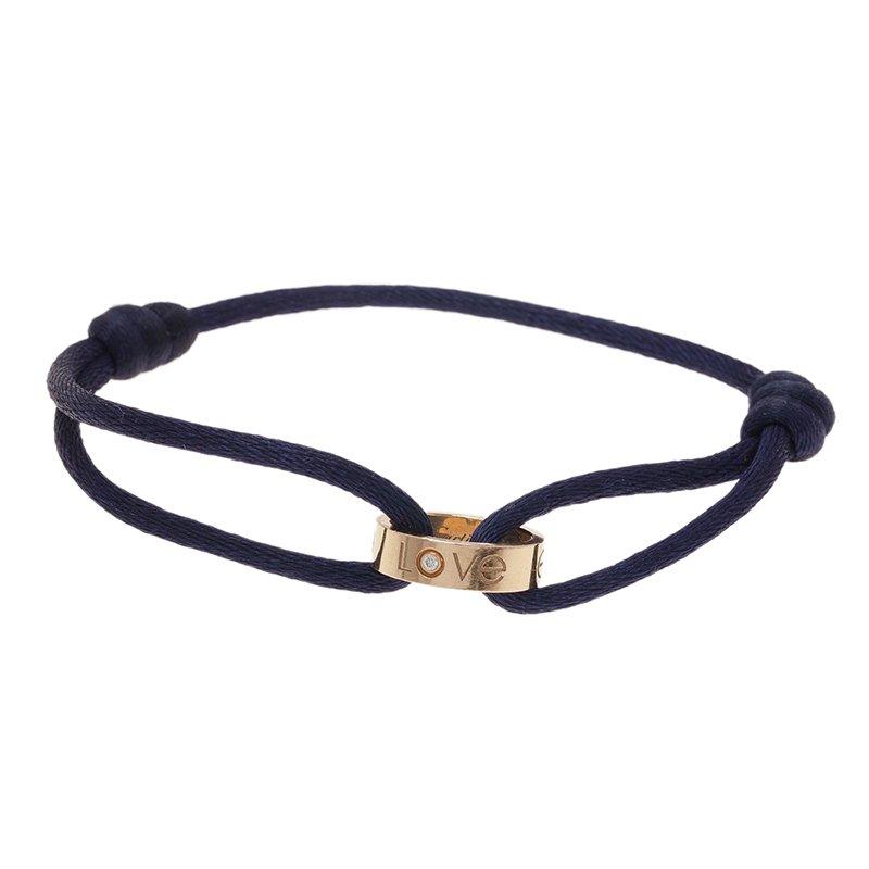 Cartier Love Charity Diamond Yellow Gold Silk Cord Bracelet Nextprev Prevnext