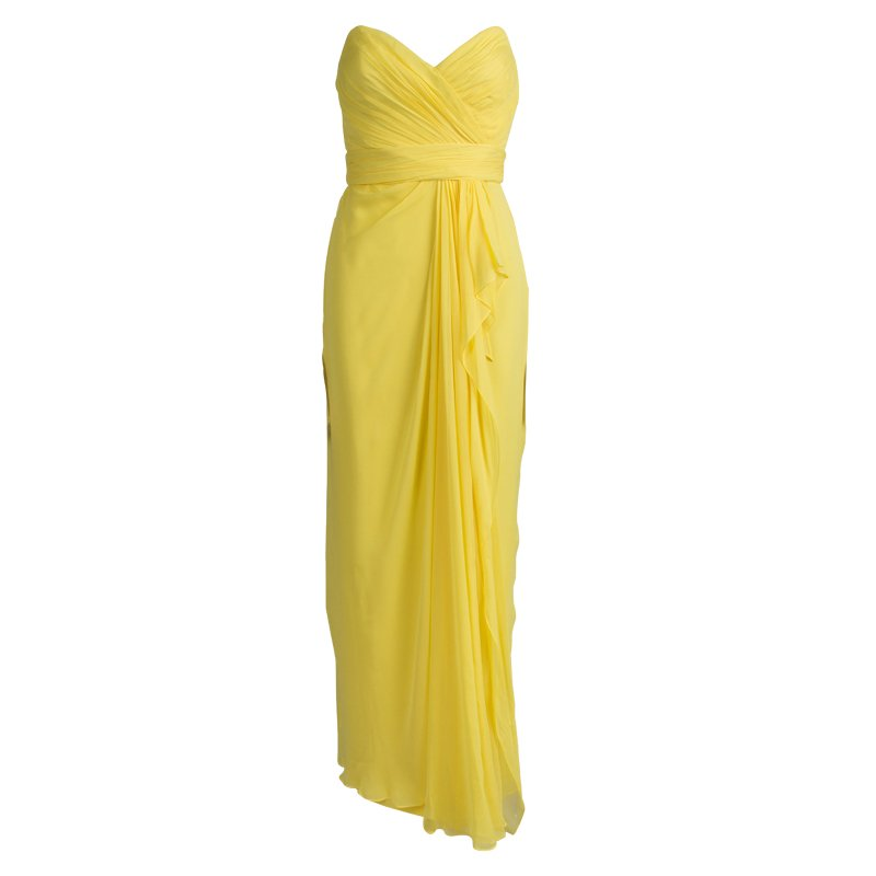 Marchesa Notte Yellow Silk Chiffon Strapless Ruched Gown S - Buy ...