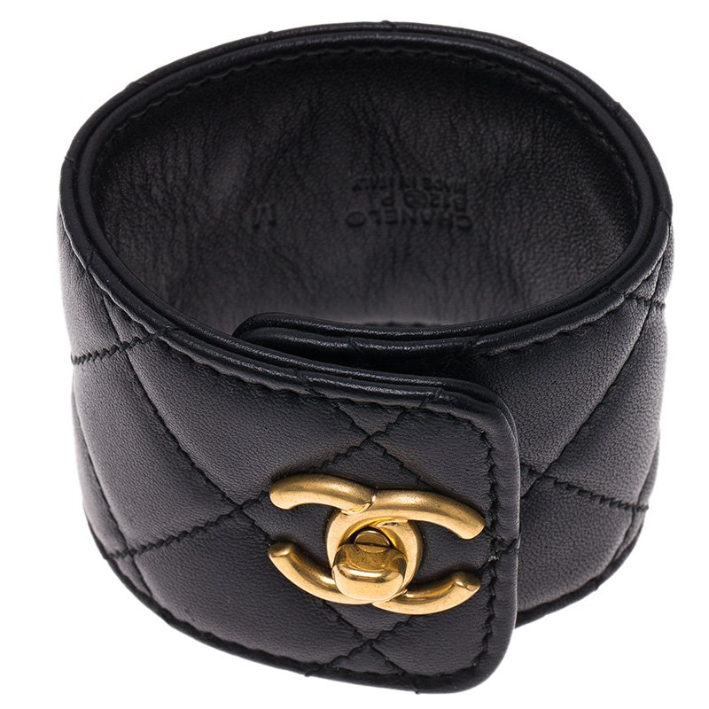 Chanel Cc Turnlock Black Quilted Leather Cuff Bracelet Nextprev Prevnext