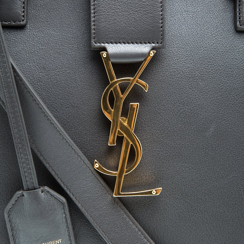 Saint Laurent Paris Grey Leather Medium Cabas Monogram Top Handle Bag
