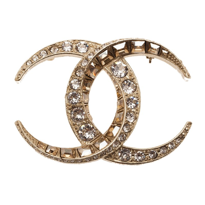 silver cc products chanel crystal baguette brooch