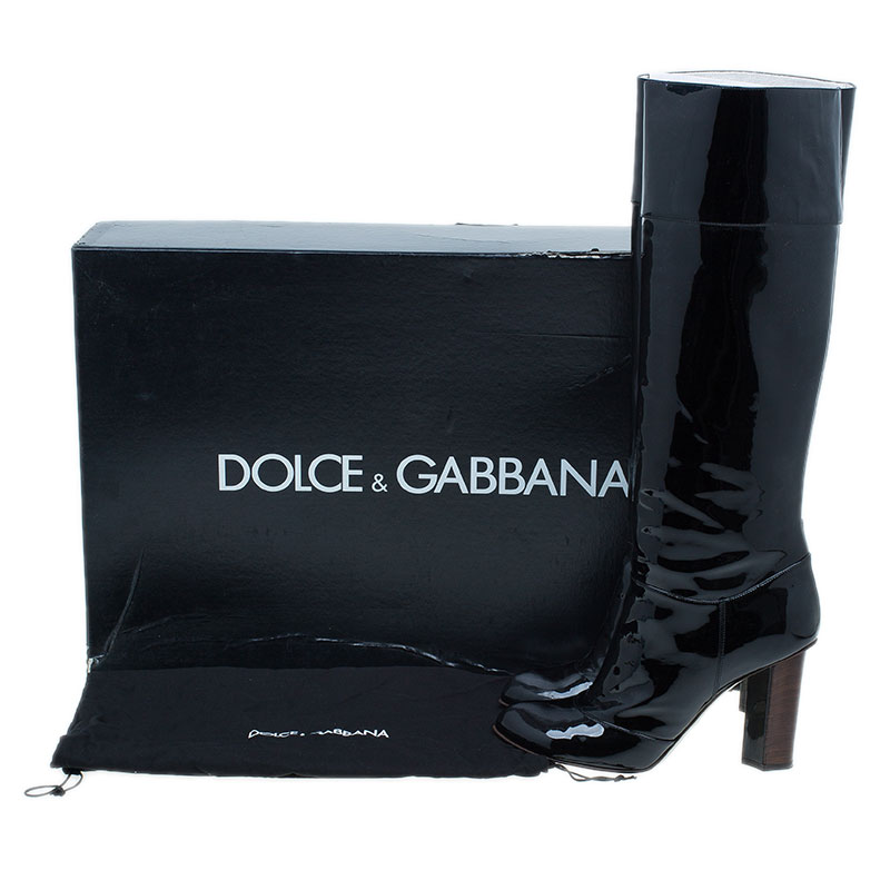 Dolce and Gabbana Black Patent Leather Knee Boots Size 40.5