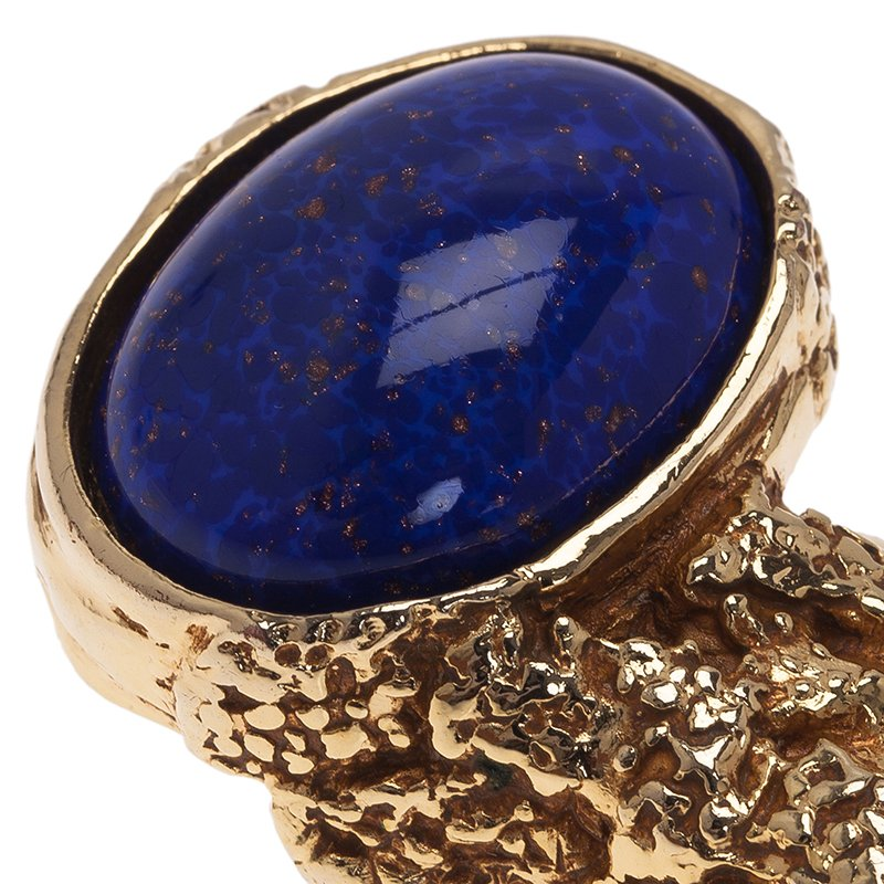 Saint Laurent Paris Gold Arty Ring Size 60