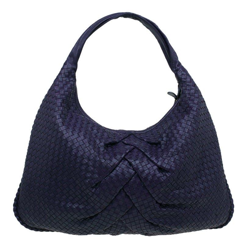 7b522f8dccb Bottega Veneta Purple Intrecciato Leather Maxi Pleated Veneta Hobo Bag.  nextprev.