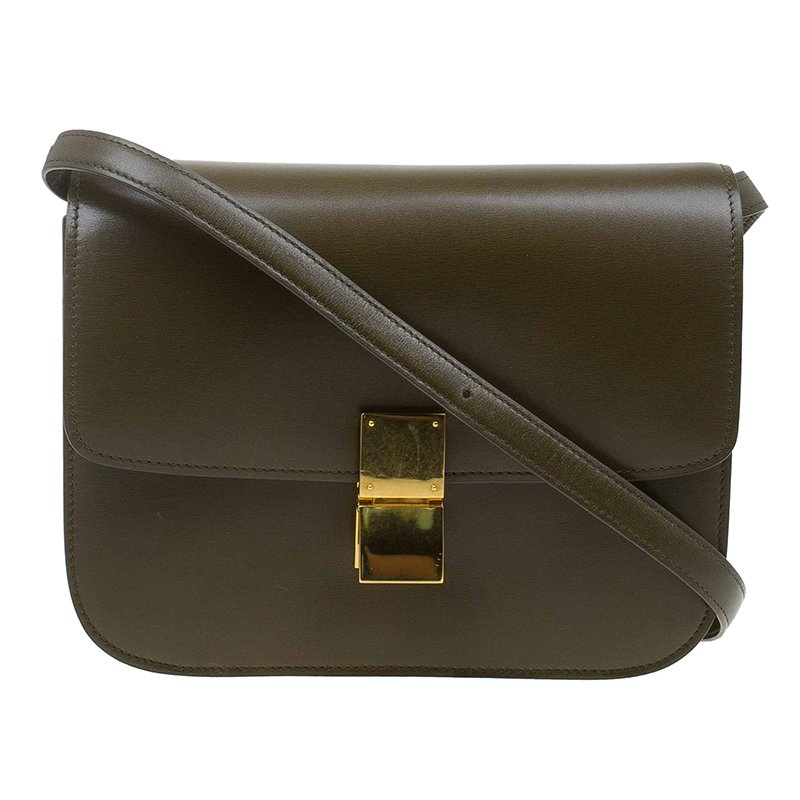 ... Celine Olive Green Leather Medium Classic Box Shoulder Bag. nextprev.  prevnext