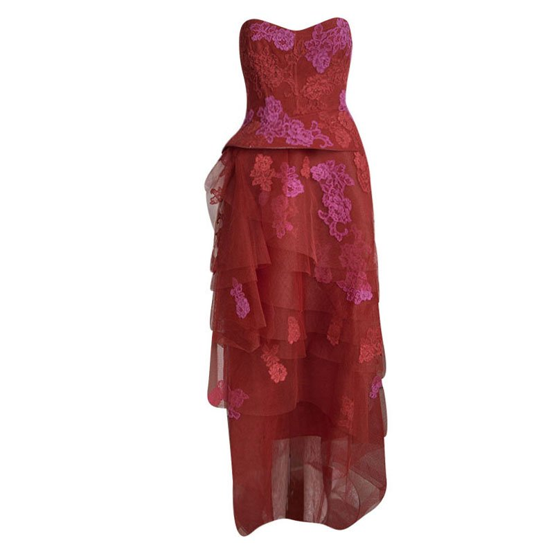 Monique Lhuillier Red Floral Embroidered Net Strapless Tiered Peplum ...