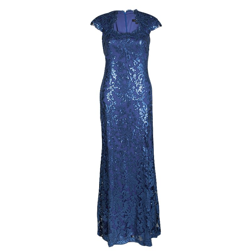 Tadashi Shoji Navy Blue Sequined Lace Square Neck Gown S - Buy ...