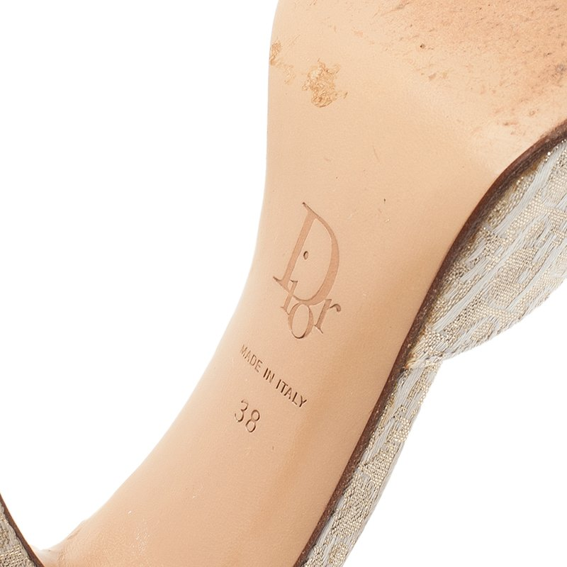 Dior Gold Monogram Leather and Canvas Key Detail Slides Size 38