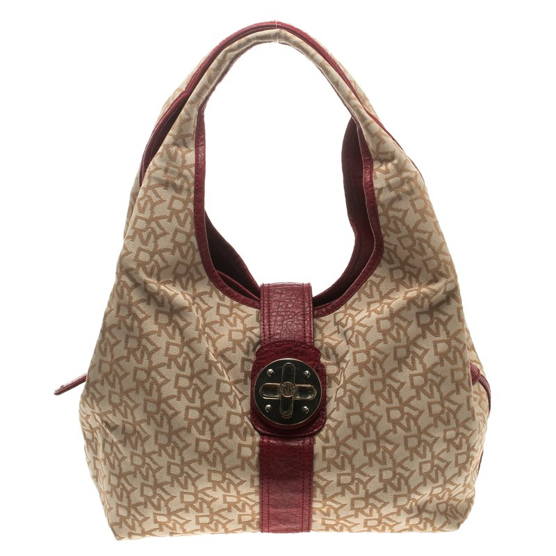 Dkny Beige Burgundy Canvas And Leather Town And Country Hobo Dkny Tlc