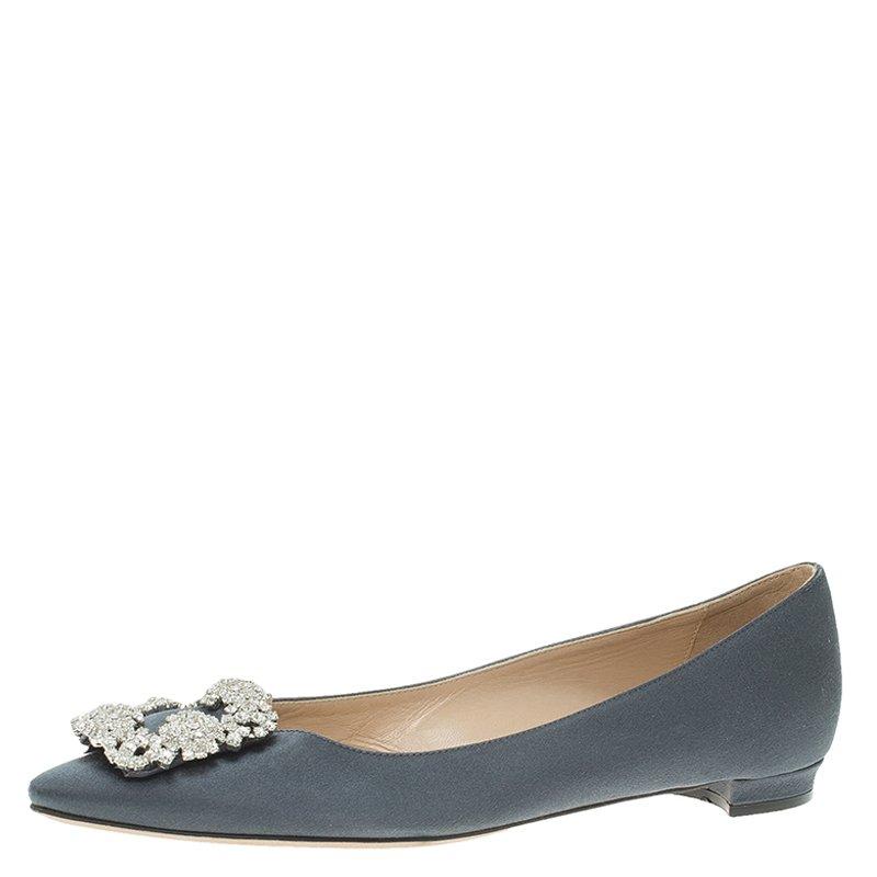 d30dc224fbead Manolo Blahnik Grey Satin Hangisi Ballet Flats Size 37. nextprev. prevnext  ...