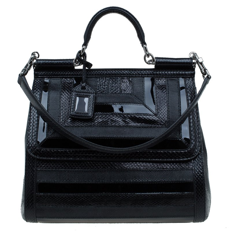 8b8d2d4c4271 Dolce and Gabbana Black PythonIguana Embossed Leather Large Miss Sicily Top  Handle Bag ...