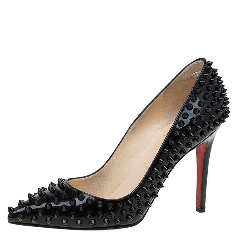 69cee8a64a3 ... Christian Louboutin Black Patent Pigalle Spikes Pumps Size 37.5.  nextprev. prevnext
