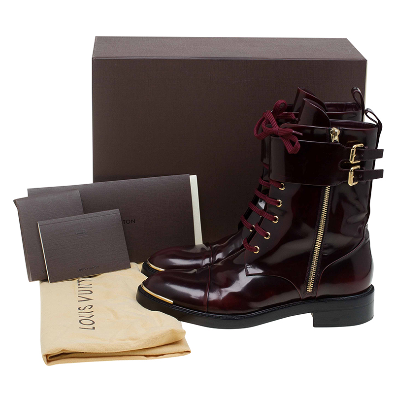 Louis Vuitton Burgundy Leather Like A Man Ranger Boots Size 40