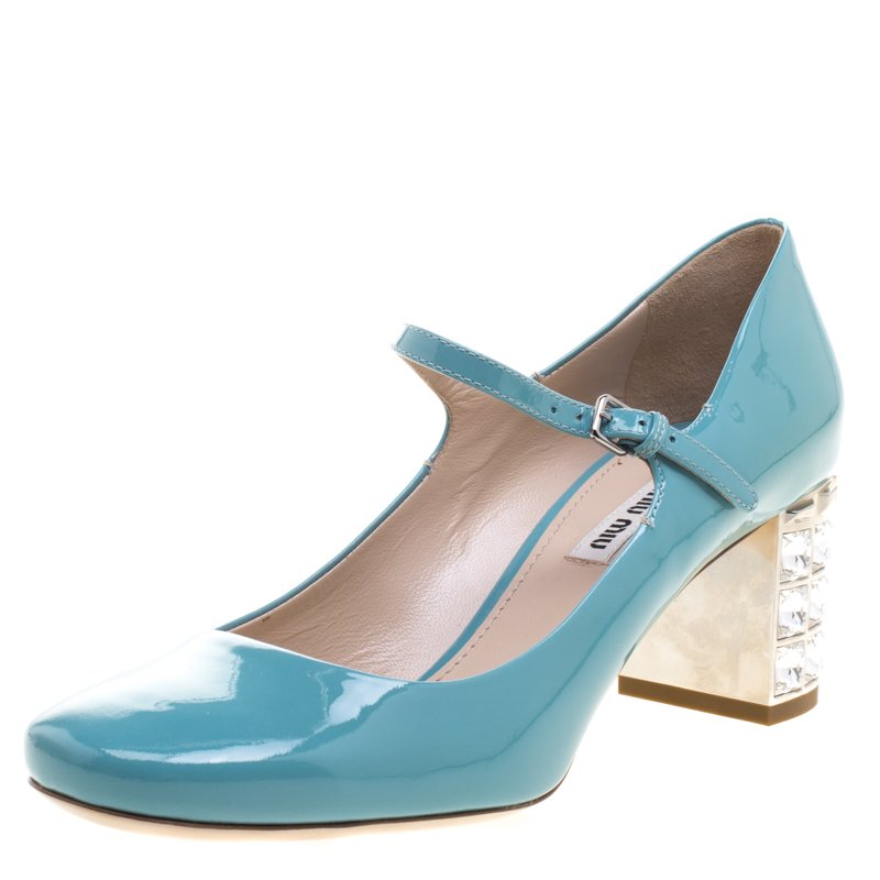 Miu miu tiffany blue patent leather crystal embellished heel mary prevnext junglespirit Image collections