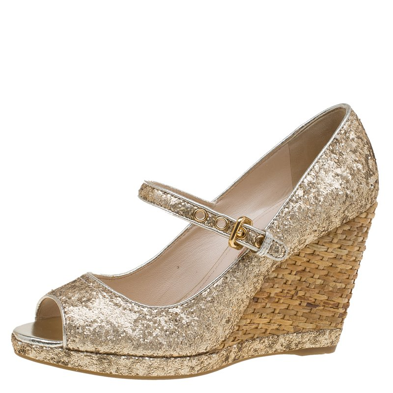 Prada Sport Glitter Wedge Sandals low price 150K0