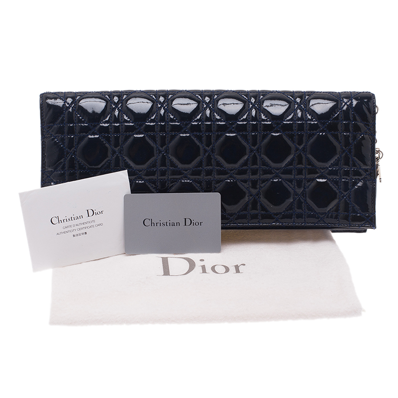 Dior Navy Blue Cannage Leather Folded Clutch