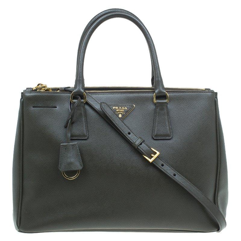 19efd82d3f59 ... closeout prada military green saffiano lux leather medium double zip  tote 28b65 704ec ...