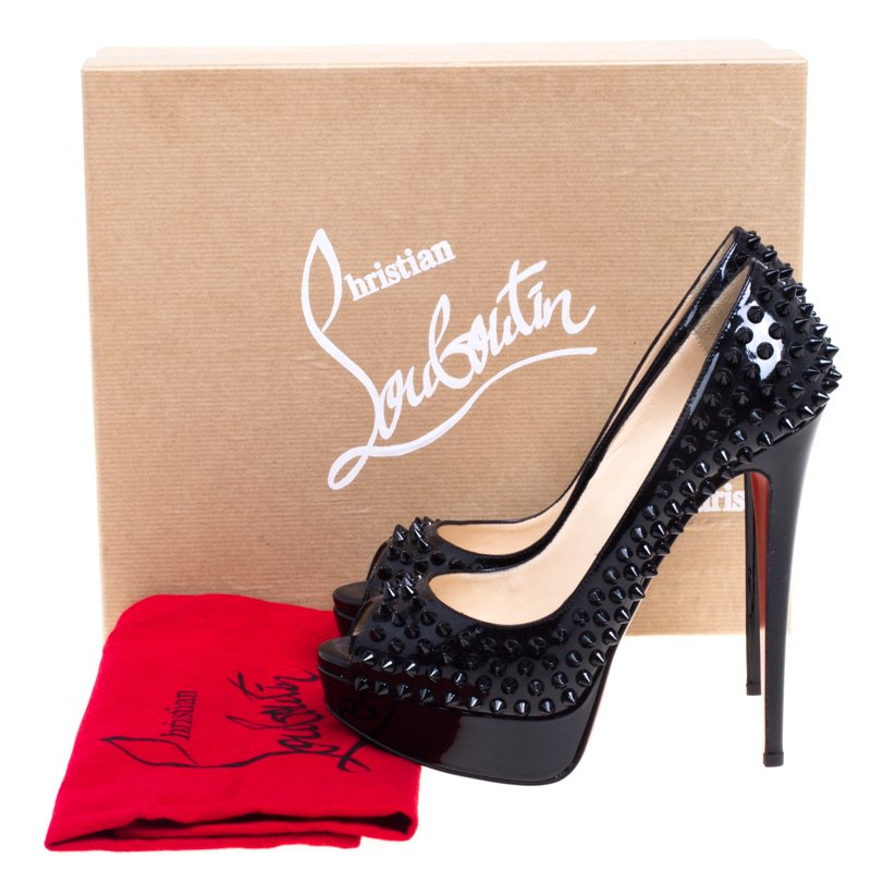 Christian Louboutin Black Patent Lady Peep Toe Spike Platform Pumps Size 38