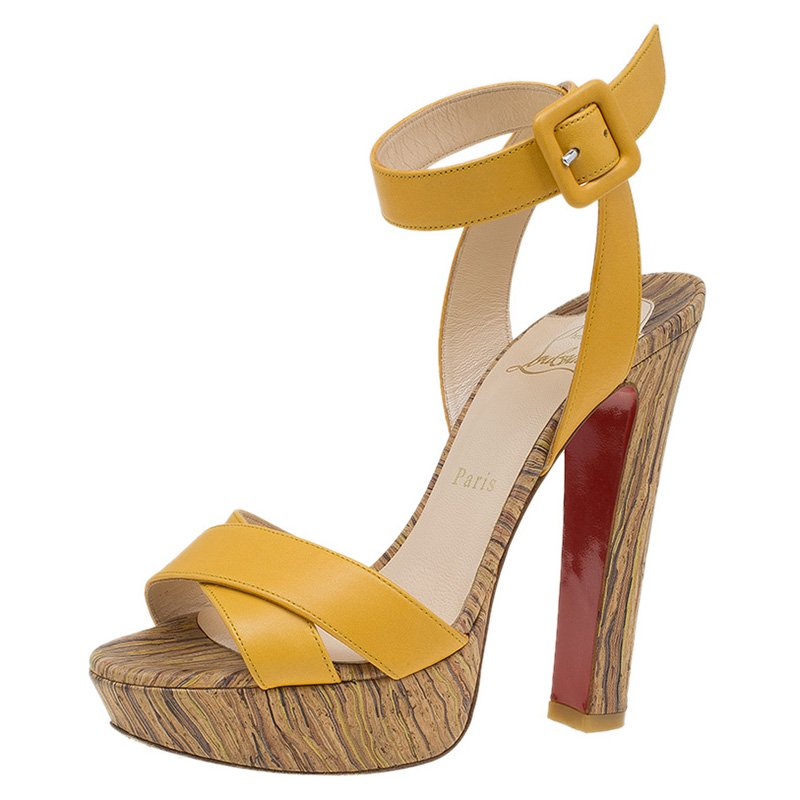 cadc5562524 ... Christian Louboutin Yellow Leather Criss Cross Ankle Strap Platform  Sandals Size 36. nextprev. prevnext