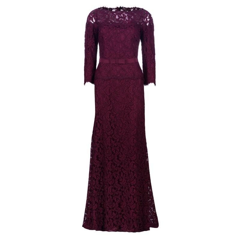 Tadashi Shoji Merlot Long Sleeve Lace Gown M - Buy & Sell - LC