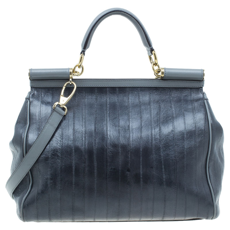 Dolce and Gabbana Grey Leather Large Striped Miss Sicily Tote