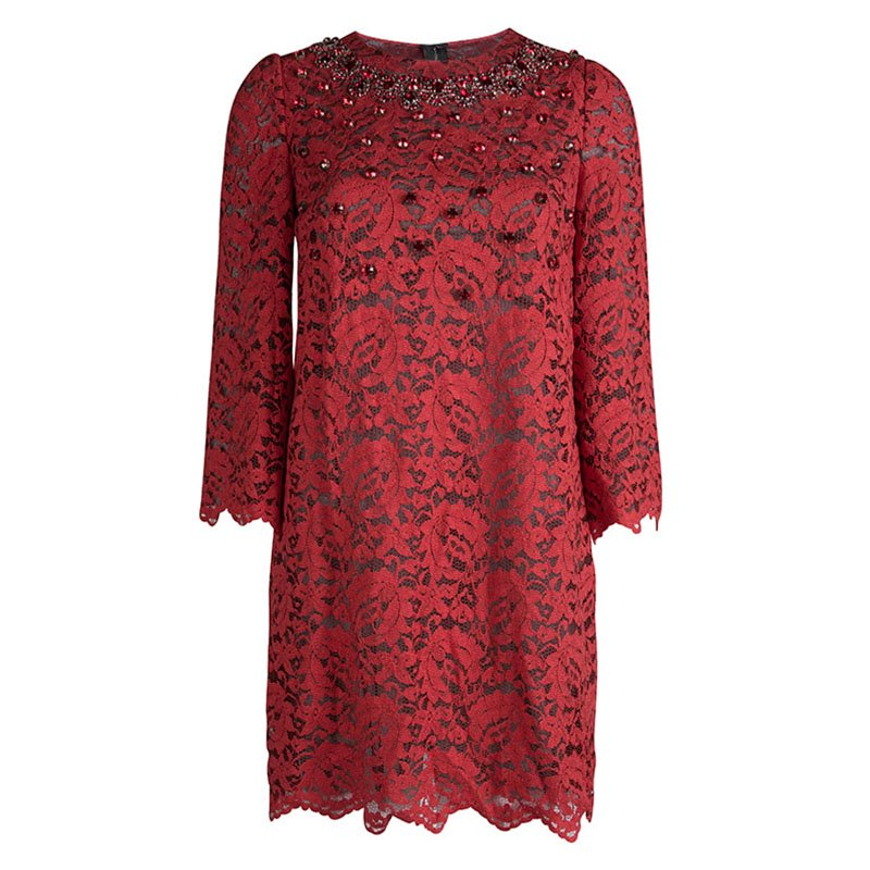 Dolce And Gabbana Red Lace Embellished Long Sleeve Shift Dress S Nextprev Prevnext