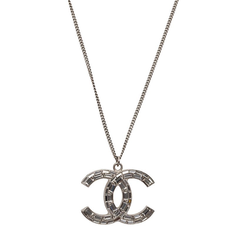 Chanel cc crystal silver tone pendant necklace buy sell lc prevnext aloadofball Images